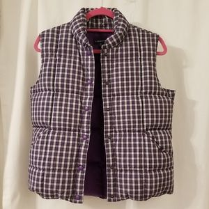 Lands' End purple plaid quilted puffer vest